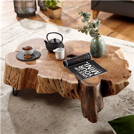 WOHNLING coffee table NAKUR 104x30x69 cm Acacia solid wood design coffee table | Table Stubentisch Baumscheibe | Sofa table wood