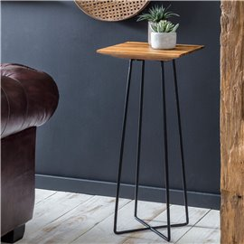 WOHNLING side table 35 x 80 x 35 cm WL5.656 Sheesham metal extension table high   Industrial Style Small Table Living Room   Woo