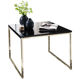 WOHNLING coffee table RIVA 60x50x60 cm metal wood sofa table black / gold | Design coffee table square | Stub table with metal f