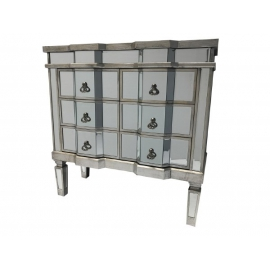CHARLESTON Srebrna komoda z 6 szufladami ze szkła weneckiego 80,5 cm / HI