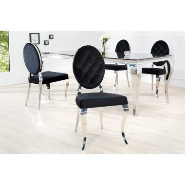 MODERN BAROCK Krzesło oparcie okrągłe czarne / 37354