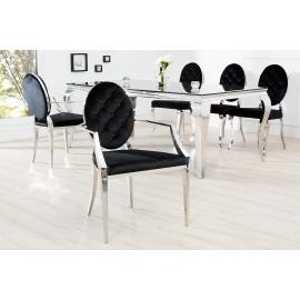 Krzesło MODERN BAROCK oparcie okrągłe czarne z podłokiernikiem