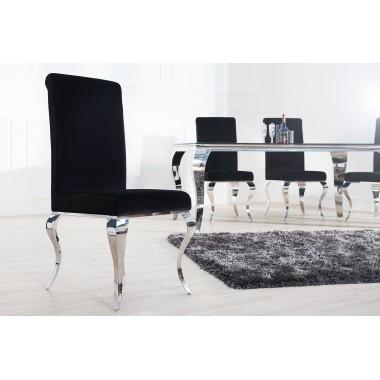 MODERN BAROCK Krzesło oparcie prostokątne, czarne / 36546