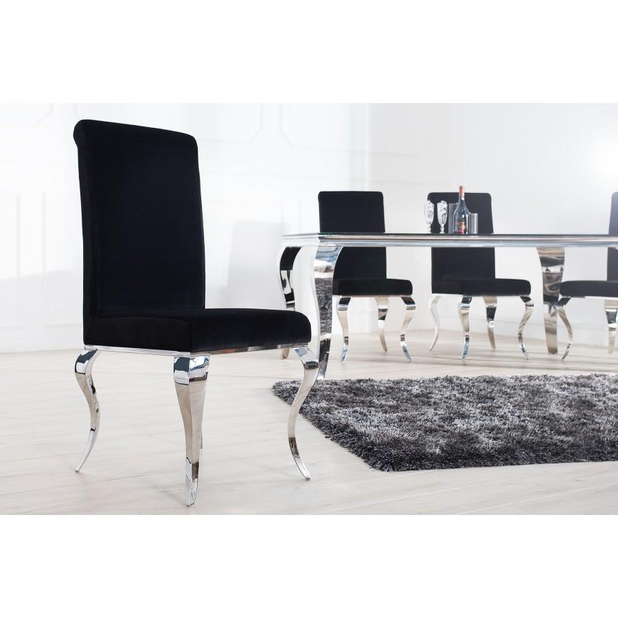 Krzesło MODERN BAROCK oparcie prostokątne, czarne