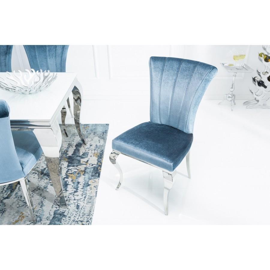 Krzesło MODERN BAROCK oparcie prostokątne, błękitne