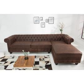 Sofa narożna Chesterfield OT brązowa prawa