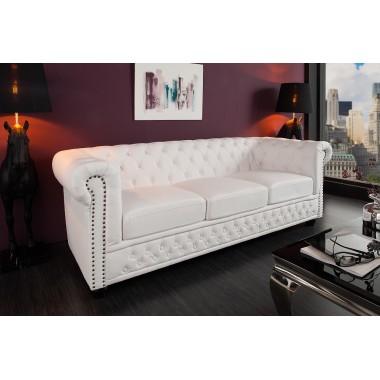 Sofa CHESTERFIELD 3 osobowa biały mat. Nity / 11222