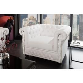 Fotel CHESTERFIELD biały matowy. Nity / 11223
