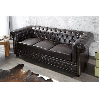 Sofa Chesterfield 3 osobowa ciemny brąz z nitami / 9686