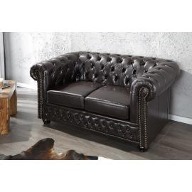 Sofa CHESTERFIELD 2 osobowa ciemny brąz z nitami / 9685