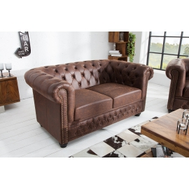 Sofa CHESTERFIELD 2 osobowa skóra split vintage brązowy / 37201