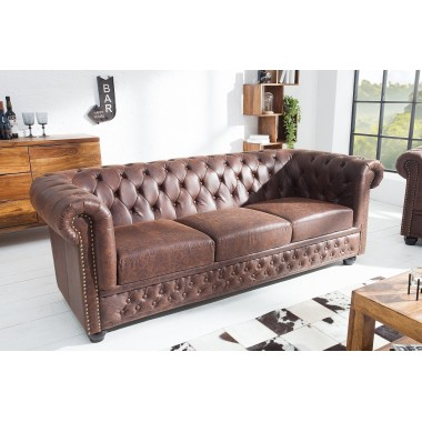 CHESTERFIELD Sofa 3 osobowa skóra vintage brązowy split / 37202
