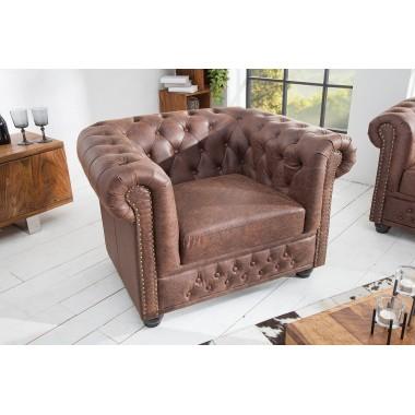 CHESTERFIELD Fotel w stylu vintage brązowa skóra split / 37200