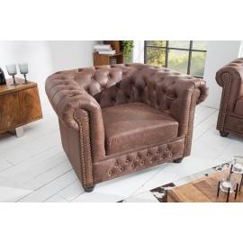 Fotel CHESTERFIELD w stylu vintage brązowa skóra split / 37200