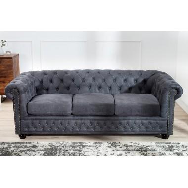 CHESTERFIELD Sofa 3 osobowa szary antyk / 37391