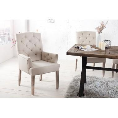 Krzesło CASTLE beżowy len z podłokietnikiem / 36084