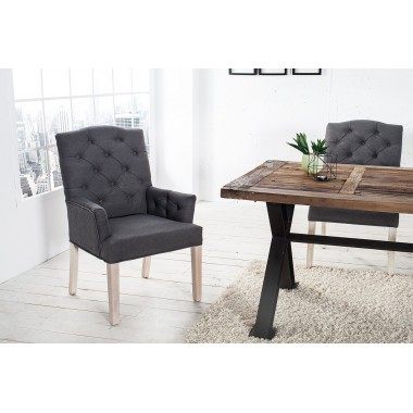 Krzesło CASTLE szary len z podłokietnikiem / 36084