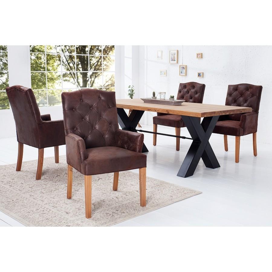 Krzesło CASTLE antyczna kawa z podłokietnikiem / 36084