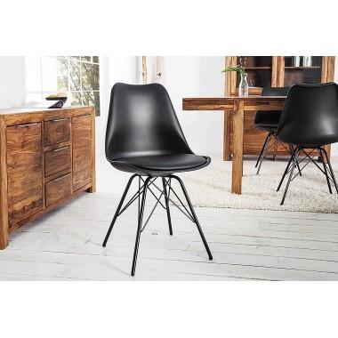 Krzesło SCANDINAVIA RETRO podwójna czerń / 36192