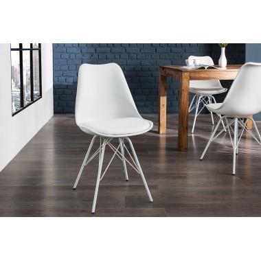 Krzesło SCANDINAVIA RETRO podwójna biel / 36205