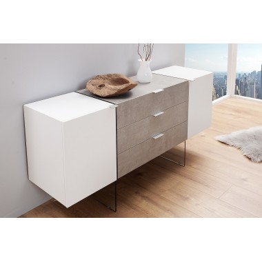 Komoda ONYX 160cm biały beton / 38139