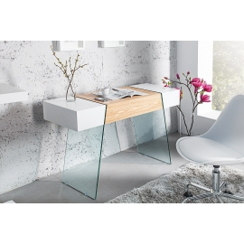 Konsola / biurko ONYX 120cm biały szklany dąb / 36200