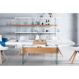 Stół do jadalni ONYX 160-200cm biały dąb szklany / 36197