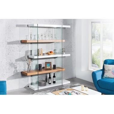 Regał ONYX 180cm biały szklany dąb / 36204