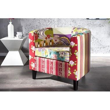 Fotel klubowy IBIZA patchwork, kolorowy / 18876