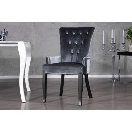 Krzesło BOUTIQUE z podłokietnikiem szare z kryształkami / 20143