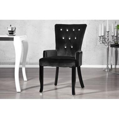 Krzesło BOUTIQUE z podłokietnikiem czarne z kryształkami / 12884