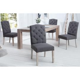 Krzesło CASTLE szare z pikowaniem chesterfield / 37876