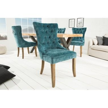 Krzesło CASTLE PETROL morski, aksamit z pikowaniem chesterfield/ 38588
