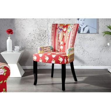 Krzesło IBIZA patchwork kolorowe z oparciem / 18875