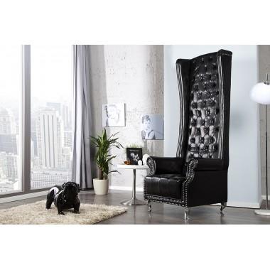 HERITAGE ROYAL Chesterfield Fotel czarny z cyrkoniami / 21400