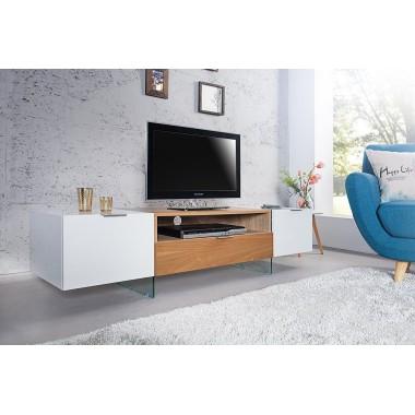 Komoda RTV ONYX 160 cm biała szklana dąb / 36201