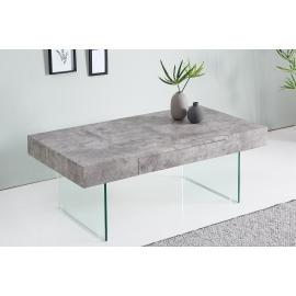 Stolik kawowy FLOATING szklane nogi z betonem 110 cm / 38101