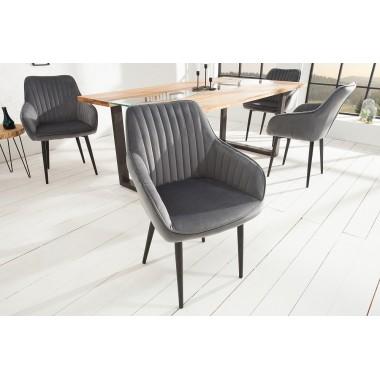 Krzesło z podłokietnikiem Turin srebrno szary/ 38787
