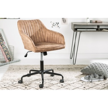 Krzesło biurowe z podłokietnikiem TURIN taupe vintage / 39348