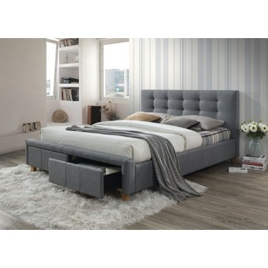 Łóżko Ascot 160cm x 200cm dwuosobowe szare z dwiema szufladami