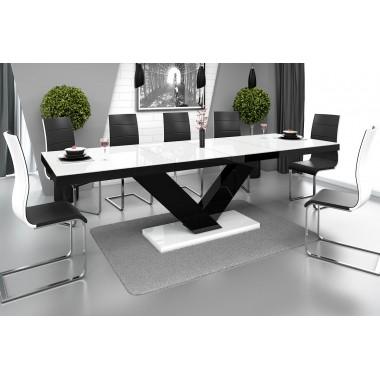 Stół VICTORIA biało czarny / rozkładany
