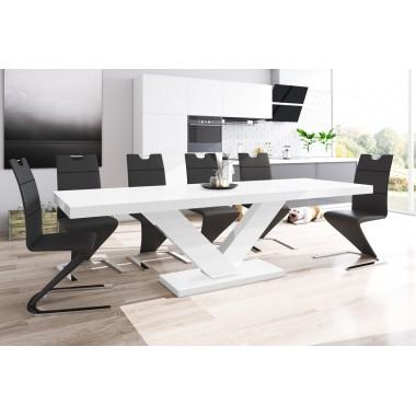 Stół VICTORIA czarno biały / rozkładany /AKRYL POŁYSK