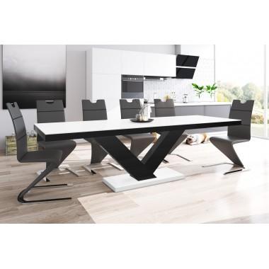 Stół VICTORIA biały mat z czarnym / rozkładany / SUPER MAT