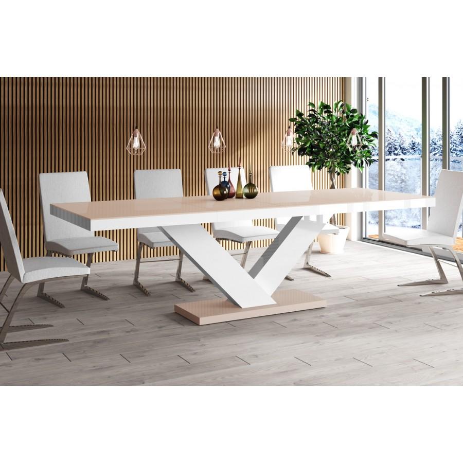 Stół VICTORIA cappucino z białym / rozkładany / SUPER POŁYSK