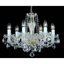 Żyrandol kryształowy Bohemian Crystal  6  ramienny / Srebrny /  Złoty