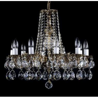 Żyrandol kryształowy mosiężny 10 ramienny AL173