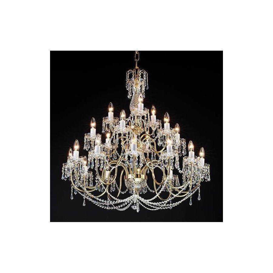 Żyrandol 21 ramienny z mosiądzu w stylu barokowym PAB059001021