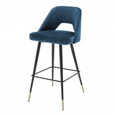 Krzesło Barowe AVORIO / Roche blue velvet | czarne i mosiężne nogi / 112056