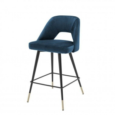 Hoker Barowy AVORIO / Roche blue velvet | czarne i mosiężne nogi / 112057