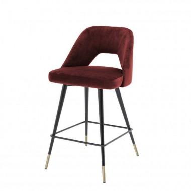Hoker Barowy AVORIO / Roche bordeaux velvet | czarne i mosiężne nogi / 112053